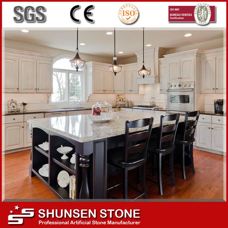Isla de cocina tabla de cuarzo blanco superior SQC091-Encimeras y ...