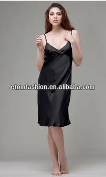 d2419c7de6fc Luxury Nightwear Wrap Over V-neck Satin Nightgown Bv121 - Buy Luxury ...