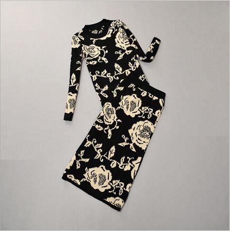 Европейский станции зима вязаный свитер и средняя средний-икры длинная юбка 2-piece комплект женщины печать длинная - длинными рукавами хеджирование пакет бедра