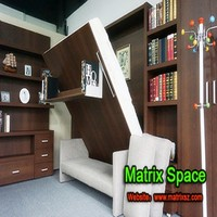 Murphy wall bed Sofa murphy bed with Bookshelf , Sofa Wall bed