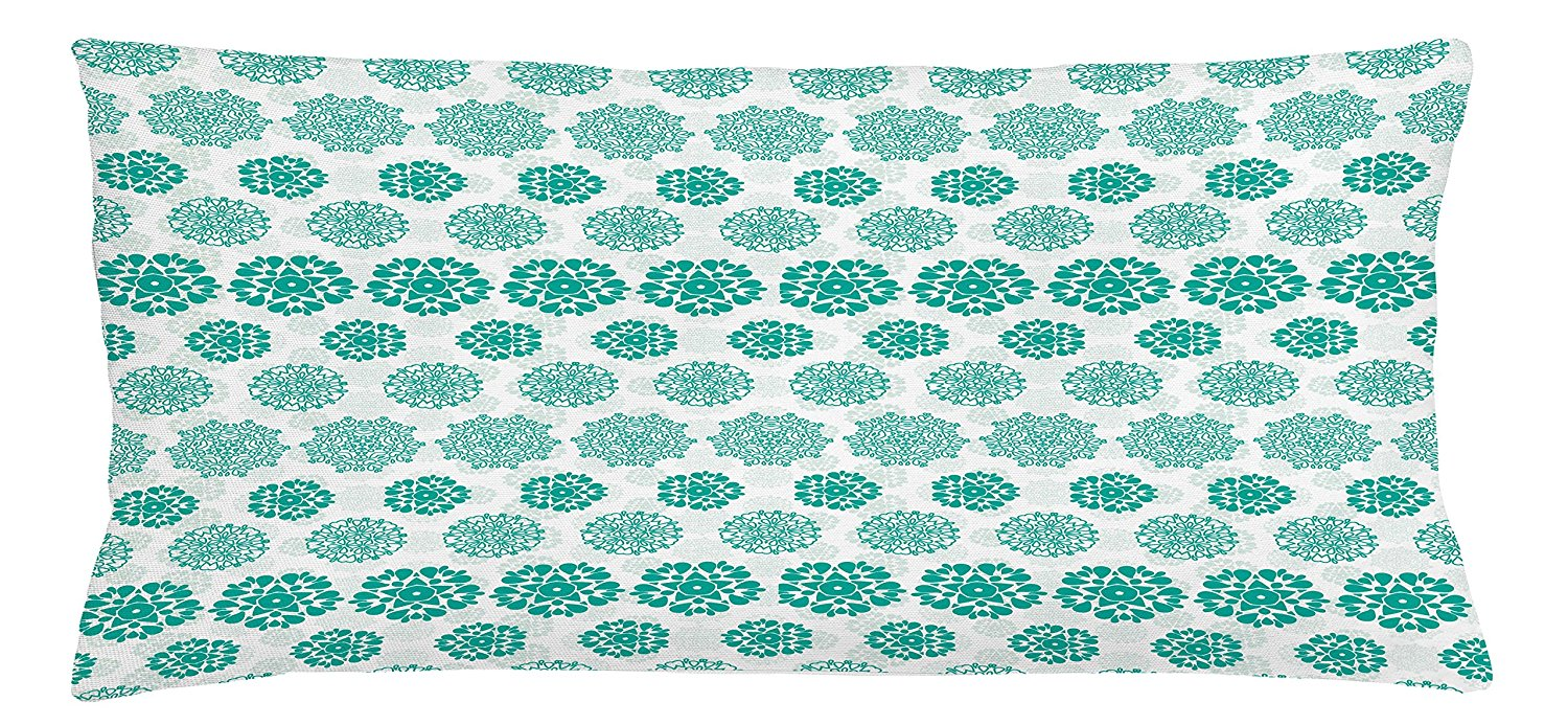 Lunarable Emerald Throw Pillow Cushion Cover, Abstract Ornamental Floral Arrangement Elements Mandala Inspired Modern Design, Decorative Square Accent Pillow Case, 36 X 16 Inches, Turquoise White