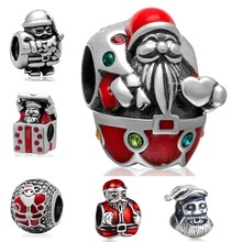 925 Sterling Silver Christmas Charms Santa Claus European Beads fit Snake Bracelet