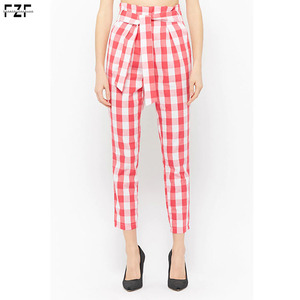 Pink Gingham Print Cotton Pants Women