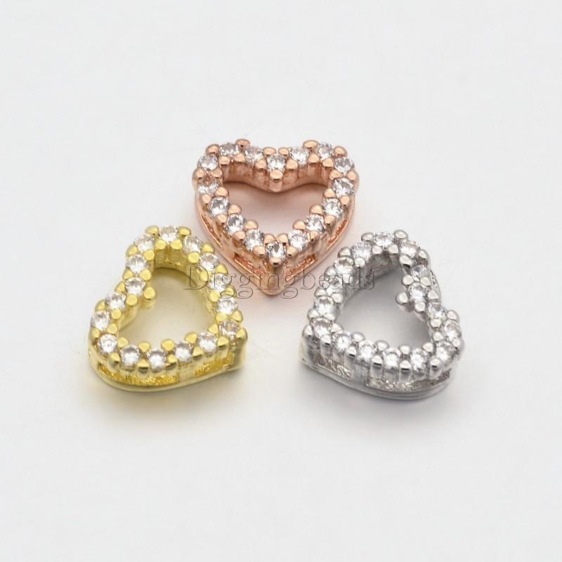 6pcs Mixed Color CZ Brass Micro Pave Grade AAA Cubic Zirconia Open Heart Beads about 9mm wide, 8mm long, 3.5mm thick, hole 1x2mm