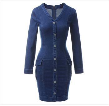 bc6b25579d Fashion Women Mini Bodycon Slim V Neck Button Long Sleeve Blue Elastic Denim  Jeans Dress