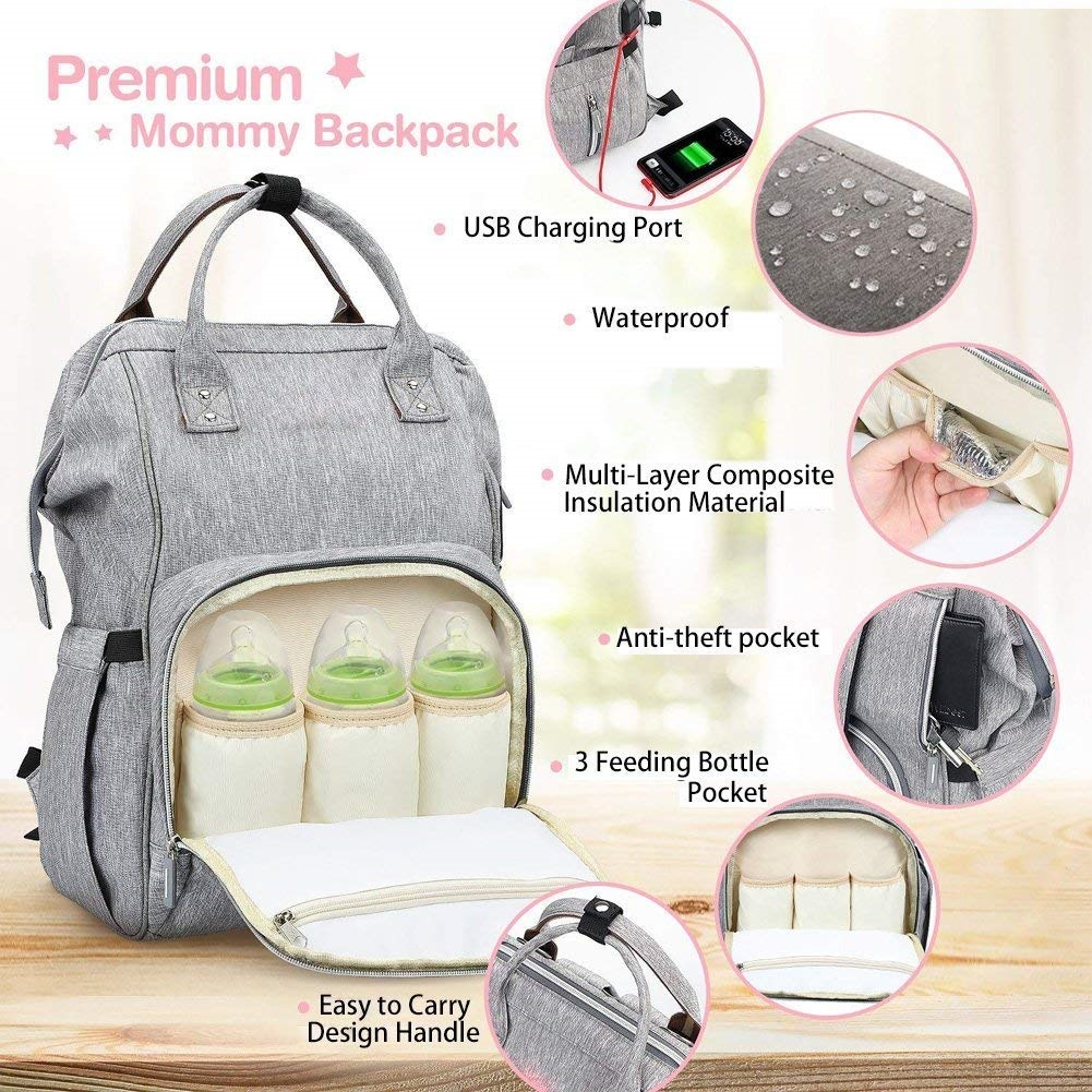 Baby Changing Bags Baby Bag Nappy Backpack Bags Travel Backpack Unique Mobile phone USB interface Great for Mum and Dad