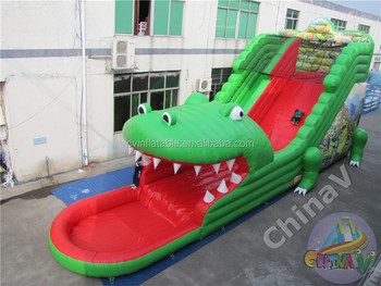 Beautiful New Arrived Giant Inflatable Crocodile Water Slide,crocodile Inflatable  Water Slide With Pool