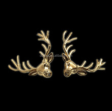 Christmas Winter Holiday Festive Brooch Pin,Golden and Cooper Tone Metal Alloy Moose Deer Reindeer w Antlers Fashion Pin Brooch