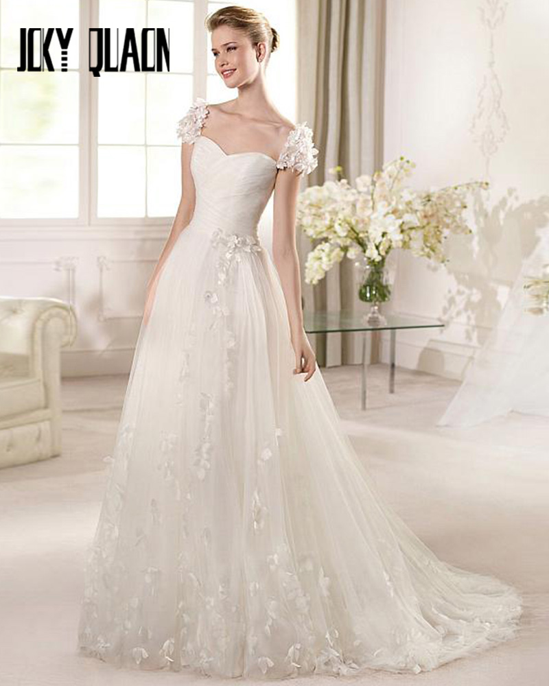 Sweetheart Wedding Dress With Cap Sleeves: Joky Quaon Sweetheart Neckline Appliques Cap Sleeve Pleat