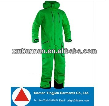2014 High Performance green winter one piece ski wear for skiing and snowboarding