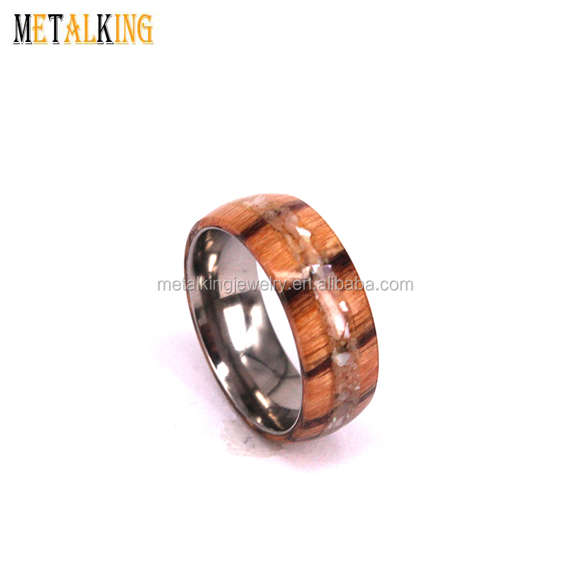 NATURE 8mm Mens Abalone Shell and Real Wood Inlay Titanium Wedding Ring High Polished Dome Style
