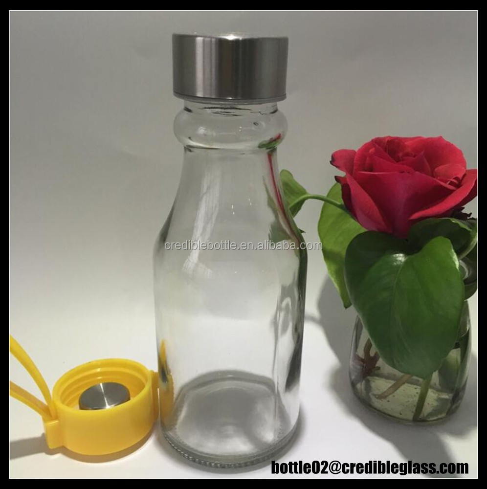 300ml Unique Glass Milk Beverage Bottles With Stainless