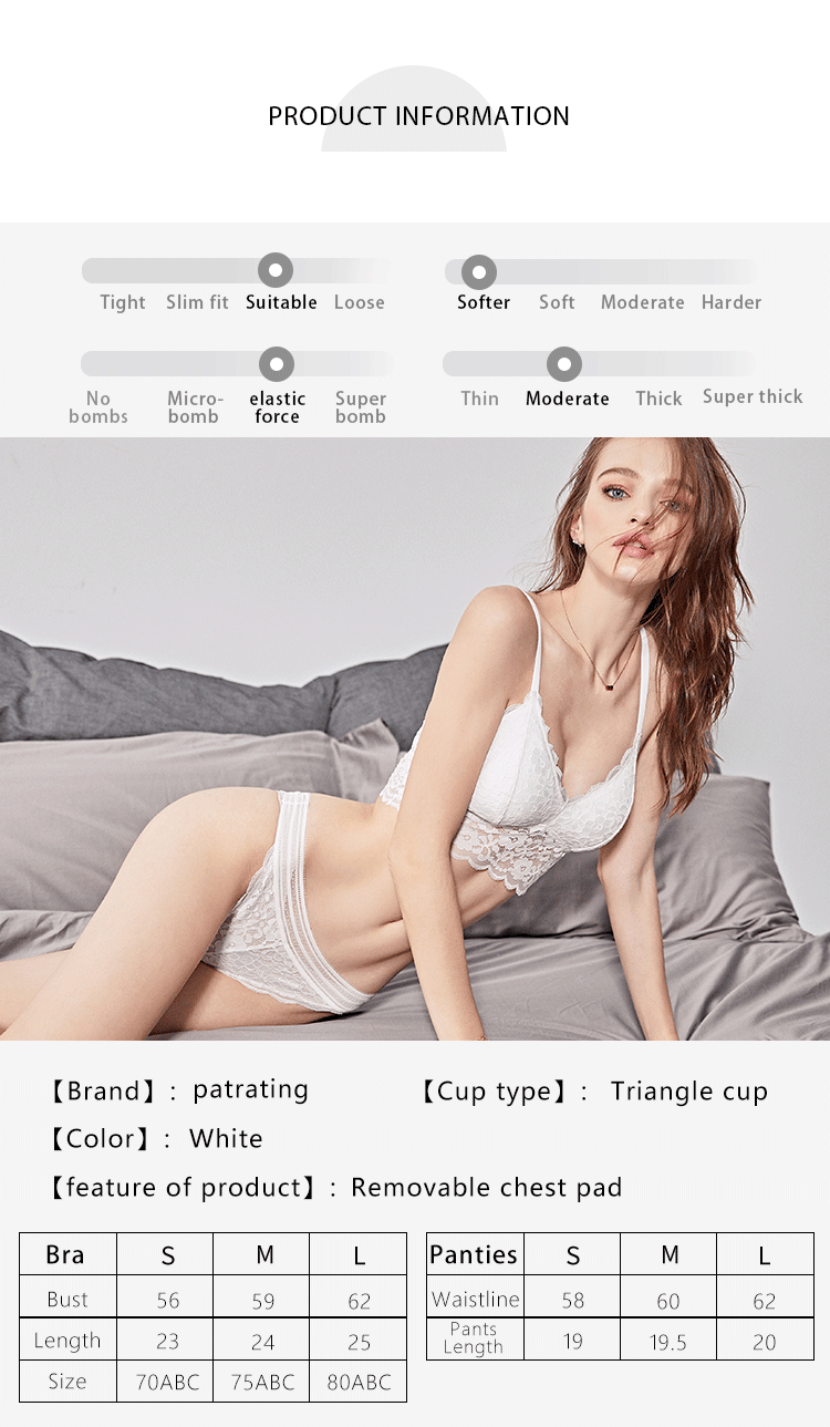 Factory wholesale sexy transparent white lace bra two piece women lingerie set