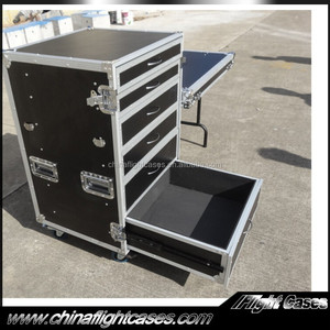 Custom Portable Sliding Drawer Storage Box Flight Case with 6 Drawers and Casters