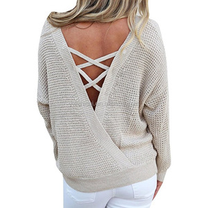 Women's Knitted Sweaters Backless Lace Up Sweater