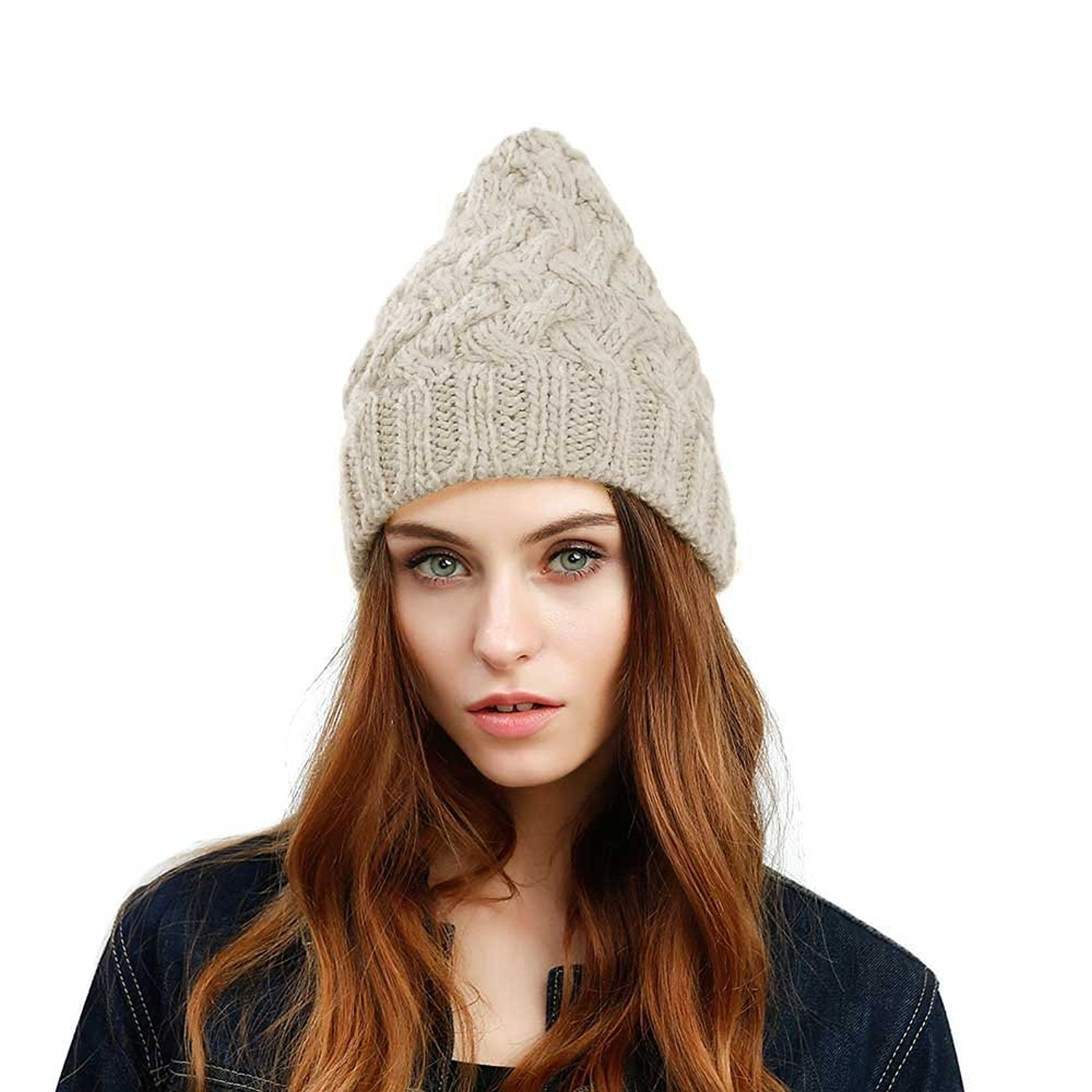 cb0a53af883 Get Quotations · JULY SHEEP Womens Girls Winter Knitted hat Wool Braided  twist hat Pointed wool hat Ski Cap
