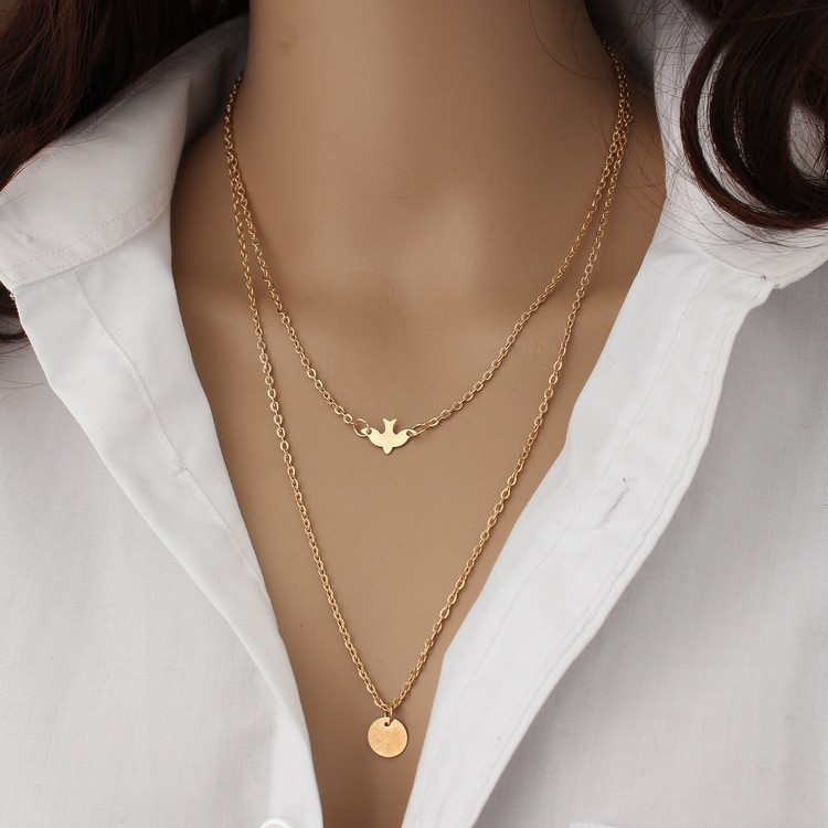 <strong>Fashion</strong> Layering Gold Delicate Bird Necklace Dove Sequins Women Long Pendant Necklaces