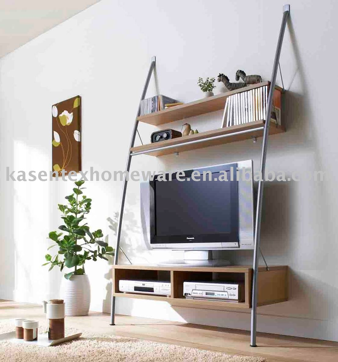 TV Stand with MDF shelf and metal tube