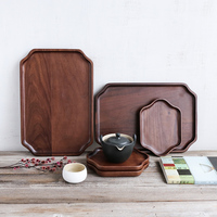Chinese style black walnut solid wood serving tray for fruit snack