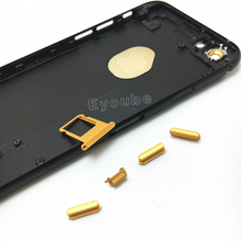 For iPhone 6 black Back Housing Replacement Matt Black Housing with Gold Buttons Random IMEI