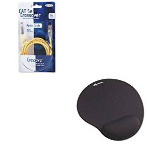 KITBLKA3X12607YLWMIVR50448 - Value Kit - Belkin CAT5e Crossover Patch Cable (BLKA3X12607YLWM) and Innovera Mouse Pad w/Gel Wrist Pad (IVR50448)