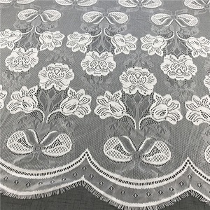 China wholesale asian fantasy embroidery leaf-drop mesh lace fabric for bridal gown