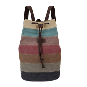 rainbow backpack canvas day haversack rucksack college student school back pack bags