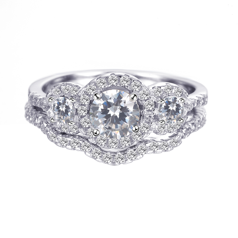 latest crystal silver cheap wedding ring sets design
