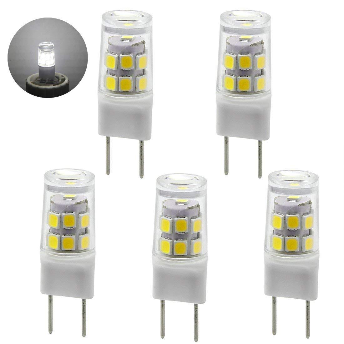 LED G8 Bi-pin Base Bulb,2.5W, 120V Daylight 6000K,20W Equivalent T4 G8 Base Halogen LED Replacement Bulb for Under-Cabinet Accent Puck Light Desk Lamp Lighting (5-Pack)