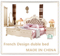 Factory Directly Sale HA-909# wooden king size bed wooden double bed with drawers
