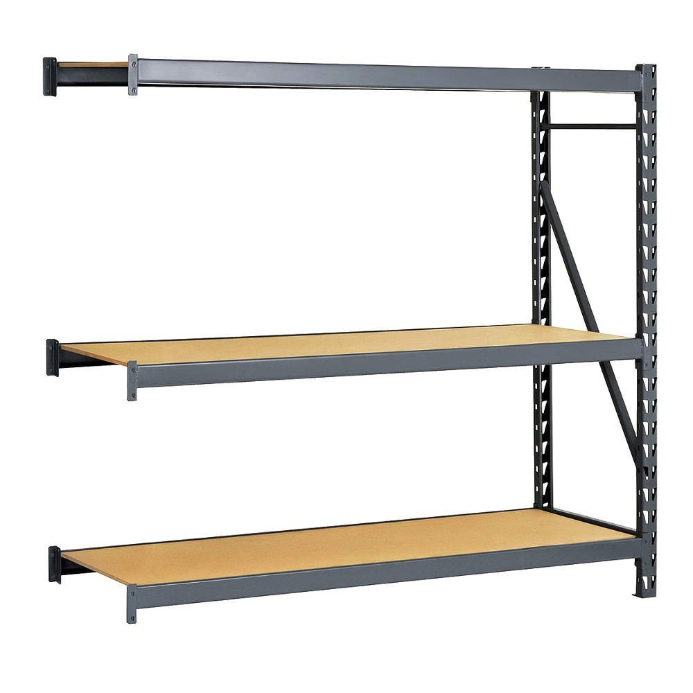 """Edsal ERP722496A E-RACK Bulk Storage Rack with Particle Board Decking, Add-On Type, 3 Shelves, 2000 lb. Capacity, 72"""" W x 24"""" D x 96"""" H, Industrial Gray"""
