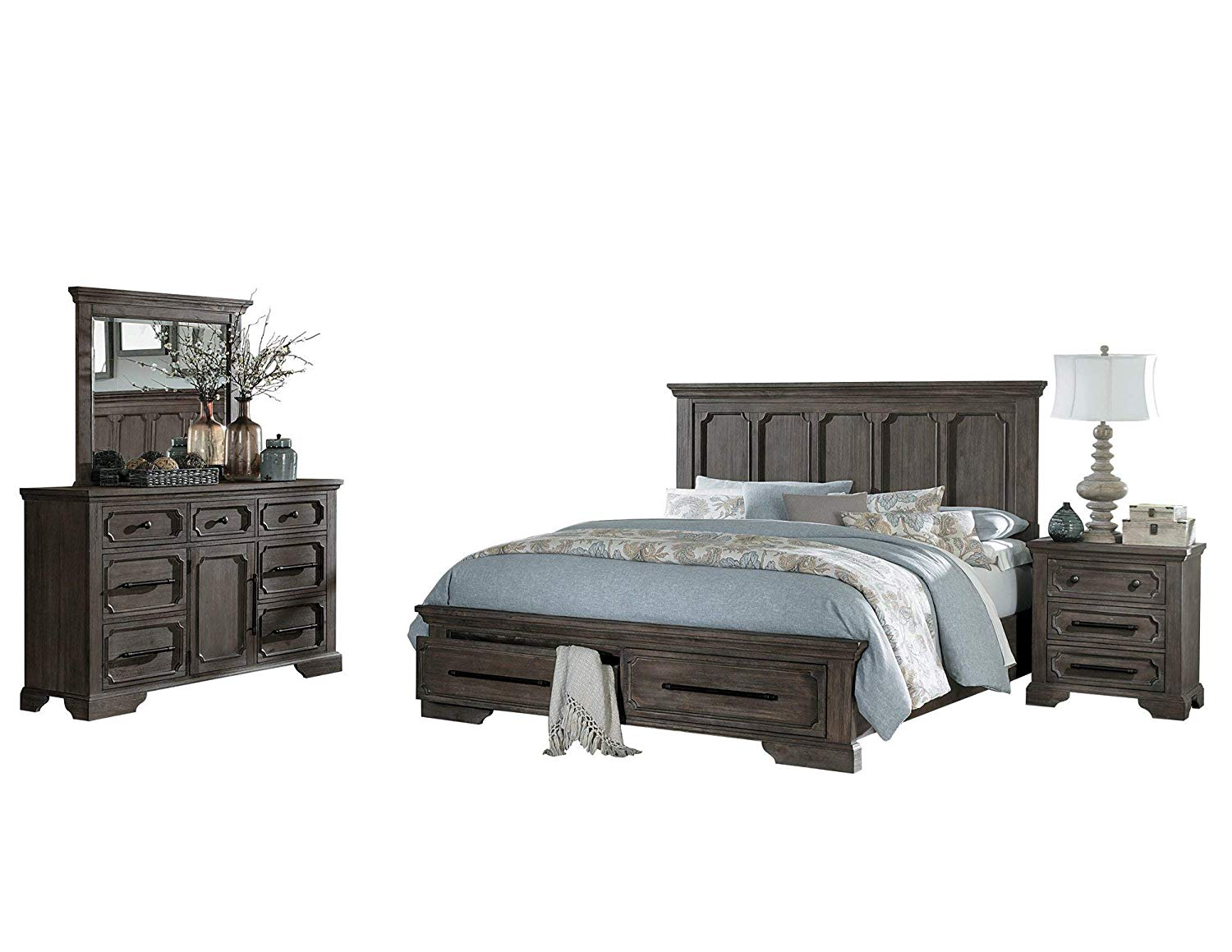 Thiara French Farmhouse 4PC Bedroom Set Cal King Storage Bed, Dresser, Mirror, 1 Nightstand in Acacia Wood Finish