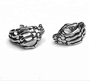 316L Stainless steel wholesale funny hand bone shaped decoration women men earrings ZZE045