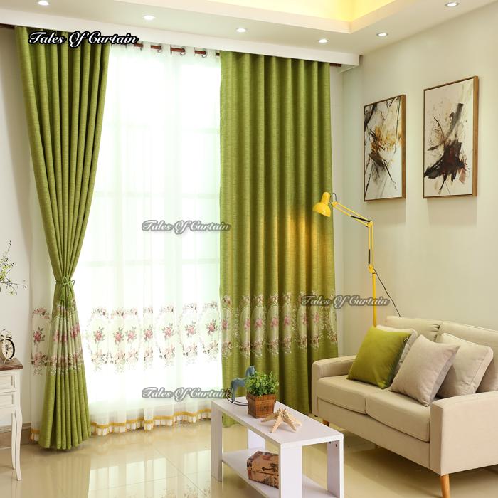 diseos de cortinas de color verde con blanco puro fresco estampado de flores precio barato tela