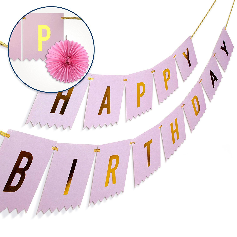 buy happy birthday banner w 2 paper fans ebook wish her a happy