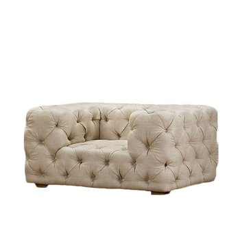 Retro On Tufted Fabric Velvet Sofa With Ivory Color