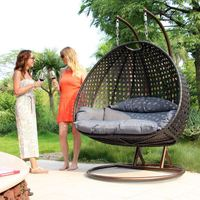 Royal Garden Patio Furniture 2 Seater Rattan Hanging Egg Swing Chair Cheap For Sale