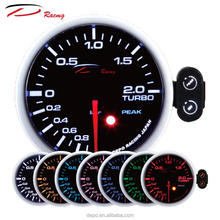 52mm 2 BAR Boost 7 Colors with Warning and Peak Recall Function Smoked Lens with t fitting Turbo Boost Gauge Turbo