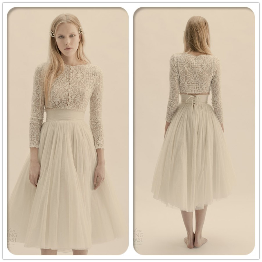 Free shipping CW1624 Lace long sleeve tea length vintage 85f2c432576d