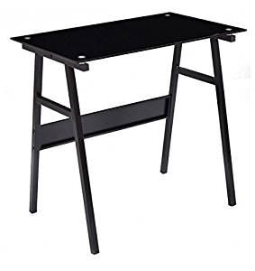 MD Group Computer Desk Black Glass Top Metal Leg Waterproof Multifunctional Study Table