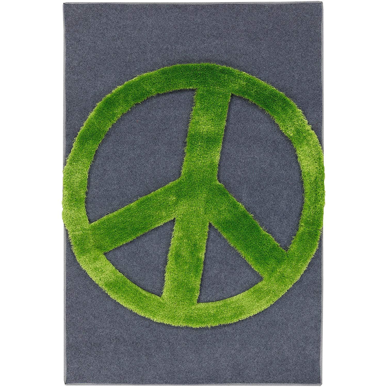 Ln 1 Piece 4 X 6 Kids Charcoal Grey Green Peace Sign Shag Area