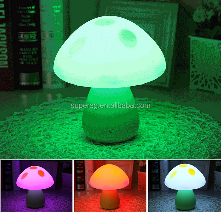 Mushroom Design Small LED Touch Light USB Rechargable Baby Night Lamp for Room Decoration and Night Activity