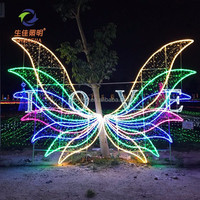 Outdoor christmas decorations led 3d Angel wings low voltage led motif rope lights