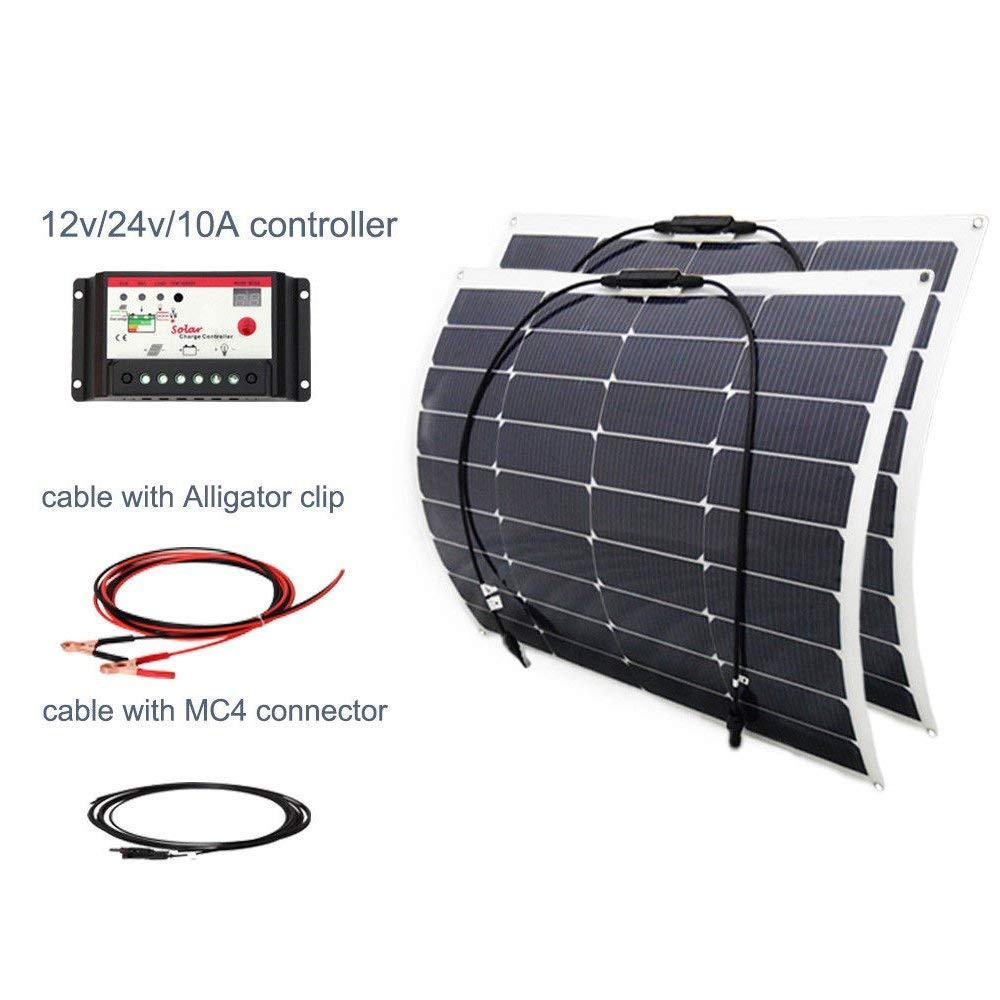 100w 18v Solar DIY Kits System 2 x 50w Semi Flexible Solar Panel 10A 12v/24v Controller 3m MC4 Cable 3m Aligator clip Cable for Boat Car Yacht