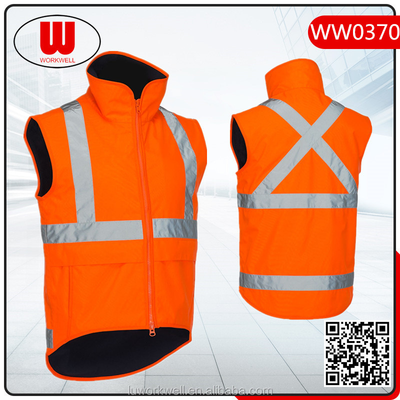 Warming reflective winter vests for adult with anti-pilling fleece