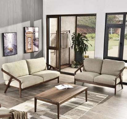 New Style Solid Wood Fabric Sofa Set