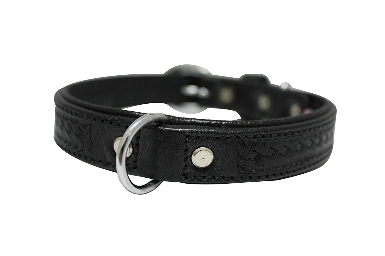 "Genuine leather dog collar. 18"" x 3/4"", Black. Padded and Western basket tooled 100% Argentinean cowhide. Angel Elite (SANTA FE) Necks: 12.5""-16"""