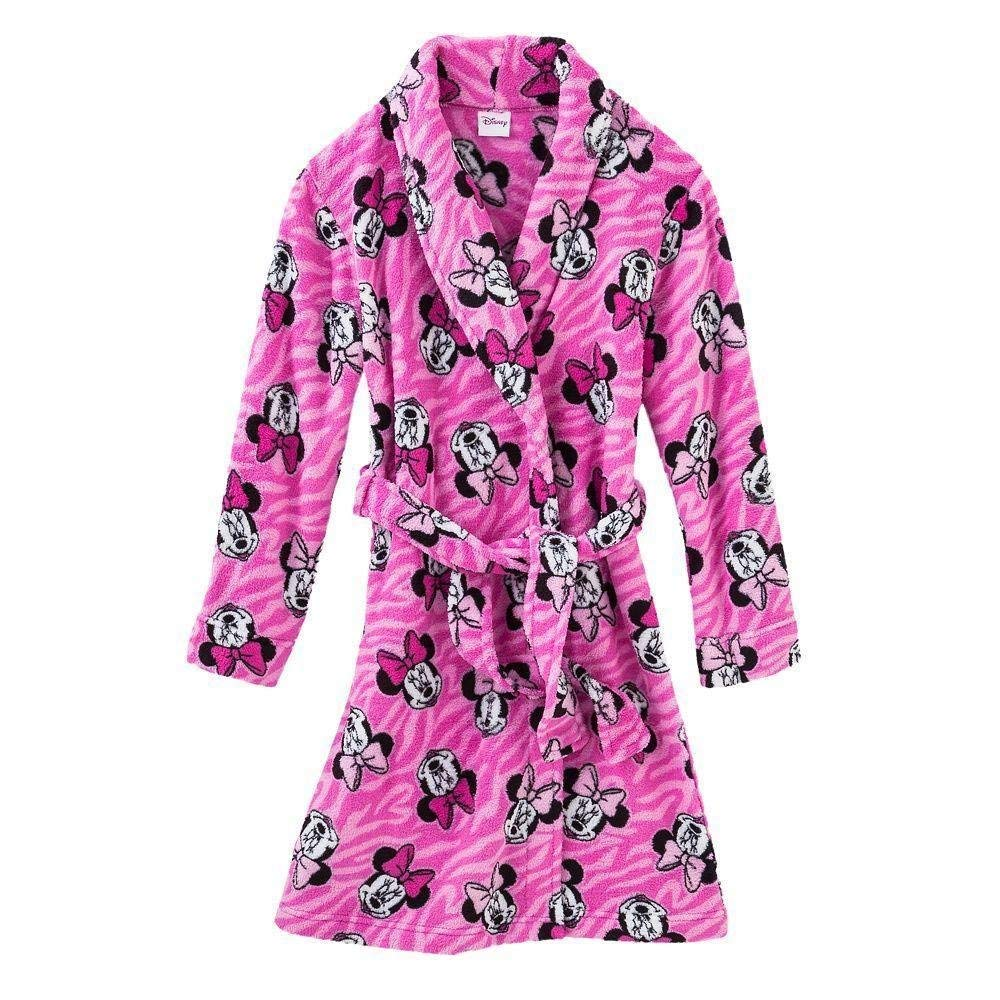 Get Quotations · MINNIE MOUSE Girl s Size 7 8 Plush Pink Zebra Print  Bathrobe 76cc94297
