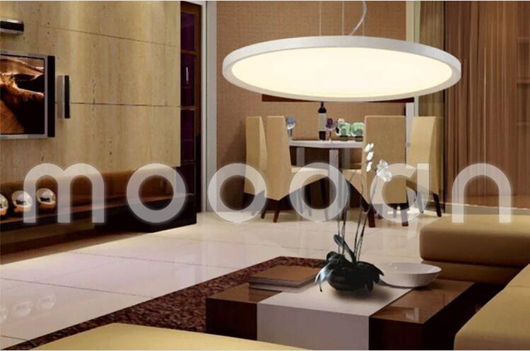 Modern Hanging White Flying Saucer Ultrathin Round Flat Panel Led Pendant Light For Dining Room