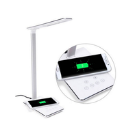 2018 LED Qi wireless charger desk lamp with USB charging port for mobile phone, touch control eye-caring table lamps